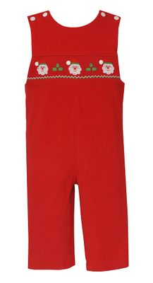 Petit Bebe Baby / Toddler Boys Red Corduroy Smocked Santa Claus Longall