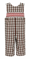 Petit Bebe Baby / Toddler Boys Red / Green Holiday Plaid Smocked Longall