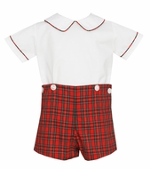 Petit Bebe Baby / Toddler Boys Red Holiday Plaid Button On Shorts Outfit