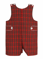 Petit Bebe Baby / Toddler Boys Red Holiday Plaid Jon Jon with Tabs