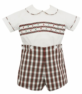 Petit Bebe Baby / Toddler Boys Red Holiday Plaid Smocked Button On Suit