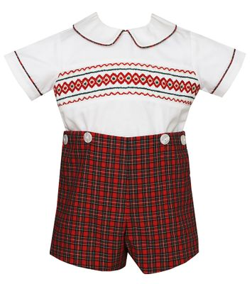 Petit Bebe Baby / Toddler Boys Red Holiday Plaid Smocked Button On Outfit