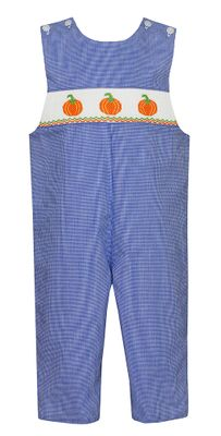 Petit Bebe Baby / Toddler Boys Royal Blue Check Smocked Pumpkins Longall