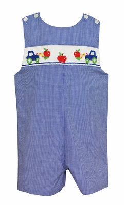 Petit Bebe Baby / Toddler Boys Royal Blue Check Smocked Red Apple Trucks Jon Jon