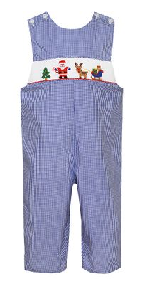 Petit Bebe Baby / Toddler Boys Royal Blue Check Smocked Santa Sleigh Longall
