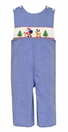 Petit Bebe Baby / Toddler Boys Royal Blue Check Smocked Santa with Reindeer Longall