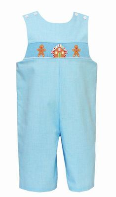Petit Bebe Baby / Toddler Boys Turquoise Gingham Smocked Gingerbread Longall