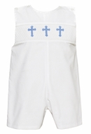 Petit Bebe Baby / Toddler Boys White Poplin Smocked Blue Crosses Jon Jon