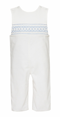 Petit Bebe Baby / Toddler Boys Winter White Corduroy Longall - Smocked in Blue
