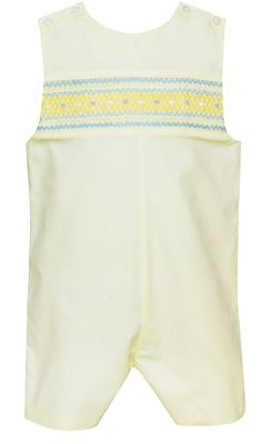 Petit Bebe Baby / Toddler Boys Yellow Poplin Smocked Jon Jon