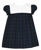 Petit Bebe Baby / Toddler Girls Blackwatch Plaid Dress - White Sailor Collar