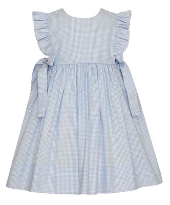 Petit Bebe Baby / Toddler Girls Blue Gingham Dress with Side Bows