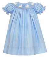 Petit Bebe Baby / Toddler Girls Blue Check Bishop Dress - Smocked Easter Bunnies