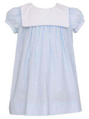 Petit Bebe Baby / Toddler Girls Blue Check Dress - Square Collar