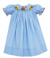 Petit Bebe Baby / Toddler Girls Blue Check Smocked Back to School Dress