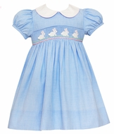 Petit Bebe Baby / Toddler Girls Blue Check Smocked Easter Bunny Dress with Collar
