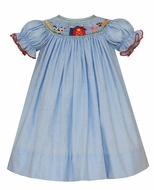 Petit Bebe Baby / Toddler Girls Blue Check Smocked Farm Animals Bishop Dress