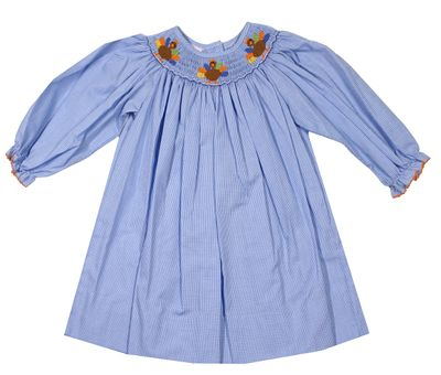 Petit Bebe Baby / Toddler Girls Blue Check Smocked Thanksgiving Turkeys Dress - Long Sleeves