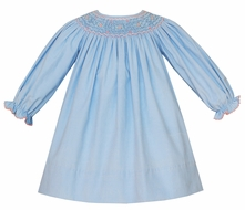 Petit Bebe Baby / Toddler Girls Blue Corduroy Smocked Bishop Dress - Long Sleeves