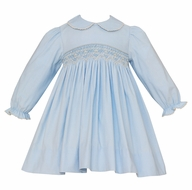 Petit Bebe Baby / Toddler Girls Blue Corduroy Smocked Dress - Long Sleeves