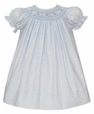 Petit Bebe Baby / Toddler Girls Blue Floral Smocked Bishop Dress