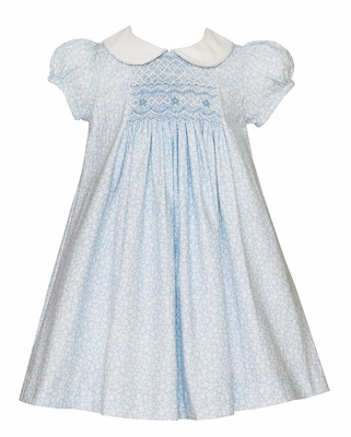 Petit Bebe Baby / Toddler Girls Blue Floral Smocked Inset Dress with Collar
