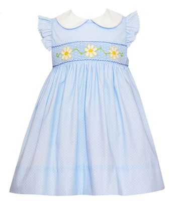 Petit Bebe Baby / Toddler Girls Blue / White Dots Smocked Daisy Dress with Collar