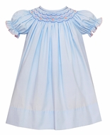 Petit Bebe Baby / Toddler Girls Blue Poplin Smocked Bishop Dress