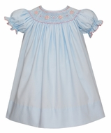 Petit Bebe Baby / Toddler Girls Blue Poplin Smocked Dress - Bishop