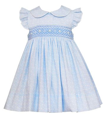 Petit Bebe Baby / Toddler Girls Blue Floral Pique Smocked Dress with Collar