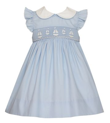 Petit Bebe Baby / Toddler Girls Blue Smocked Sailboats Dress - Collar