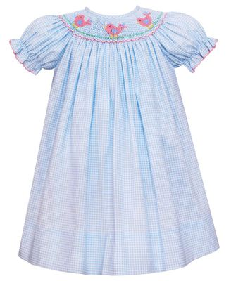 Petit Bebe Baby / Toddler Girls Blue Gingham Bishop Dress - Smocked Baby Birds