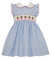 Petit Bebe Baby / Toddler Girls Blue Striped Smocked Strawberry Dress with Collar