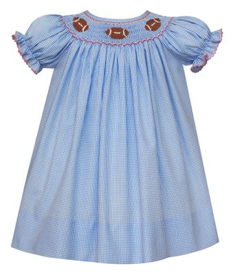 Petit Bebe Baby / Toddler Girls Blue Check Smocked Footballs Dress