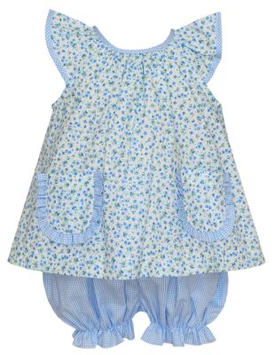 Petit Bebe Baby / Toddler Girls Blue Floral / Check Bloomer Set with Pockets
