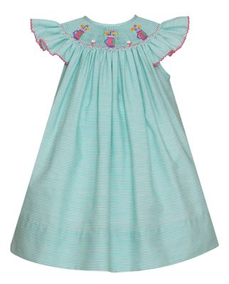Petit Bebe Baby / Toddler Girls Green Stripe Smocked Golf Bishop Dress