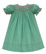 Petit Bebe Baby / Toddler Girls Green Check Bishop Dress - Smocked Candy Canes