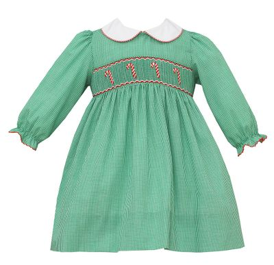 Petit Bebe Baby / Toddler Girls Green Check Dress - Smocked Candy Canes - Collar & Long Sleeves