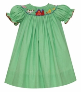 Petit Bebe Baby / Toddler Girls Green Check Smocked Farm Bishop Dress