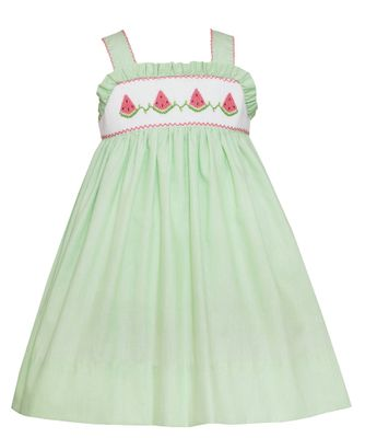 Petit Bebe Baby / Toddler Girls Green Stripe Smocked Watermelons Sun Dress