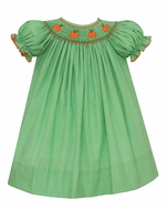 Petit Bebe Baby / Toddler Girls Green Gingham Smocked Orange Pumpkins Bishop Dress