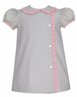 Petit Bebe Baby / Toddler Girls Grey / White Dots Float Dress - Pink Check Ruffle