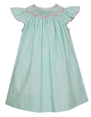 Petit Bebe Baby / Toddler Girls Mint Poplin Bishop Dress - Smocked in Pink