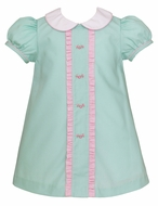 Petit Bebe Baby / Toddler Girls Mint Poplin Float Dress - Pink Ruffles