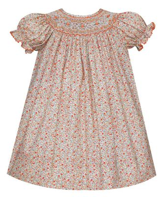 Petit Bebe Baby / Toddler Girls Orange Fall Floral Smocked Bishop Dress