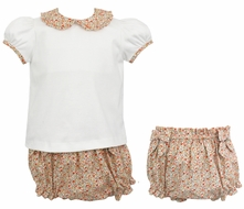 Petit Bebe Baby / Toddler Girls Orange Liberty Floral Bloomers Set