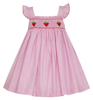 Petit Bebe Baby / Toddler Girls Pink Check Smocked Strawberries Sun Dress