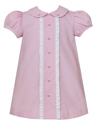 Petit Bebe Baby / Toddler Girls Pink Corduroy Dress - Embroidered Rosettes