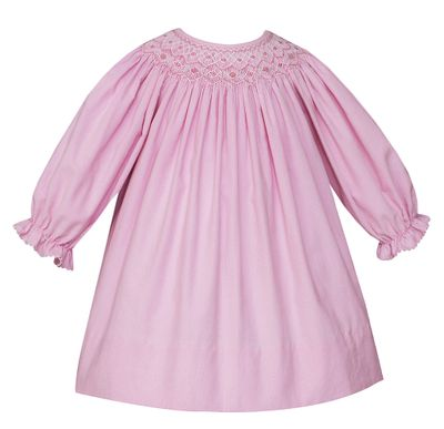 Petit Bebe Baby / Toddler Girls Pink Corduroy Smocked Bishop Dress - Long Sleeves