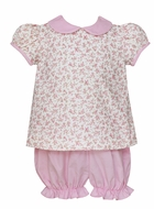 Petit Bebe Baby / Toddler Girls Pink Floral / Corduroy Bloomers Set